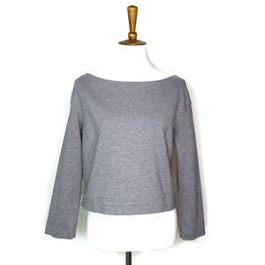 MM Lafleur gray long sleeve crop top, size L